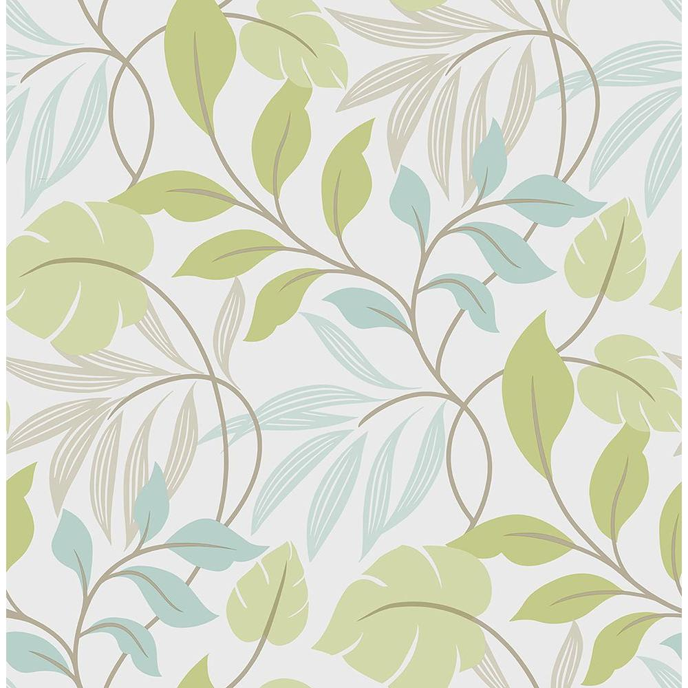 Nuwallpaper Blue And Green Meadow Vinyl Strippable Wallpaper Covers 30 75 Sq Ft Nu1657 The Home Depot Leaf Wallpaper Nuwallpaper Brewster Wallpaper