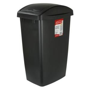 Rubbermaid 12 5 Gal Black Swing Top Wastebasket 2007870 The Home Depot In 2020 Recycling Bins For Home Trash Can Rubbermaid