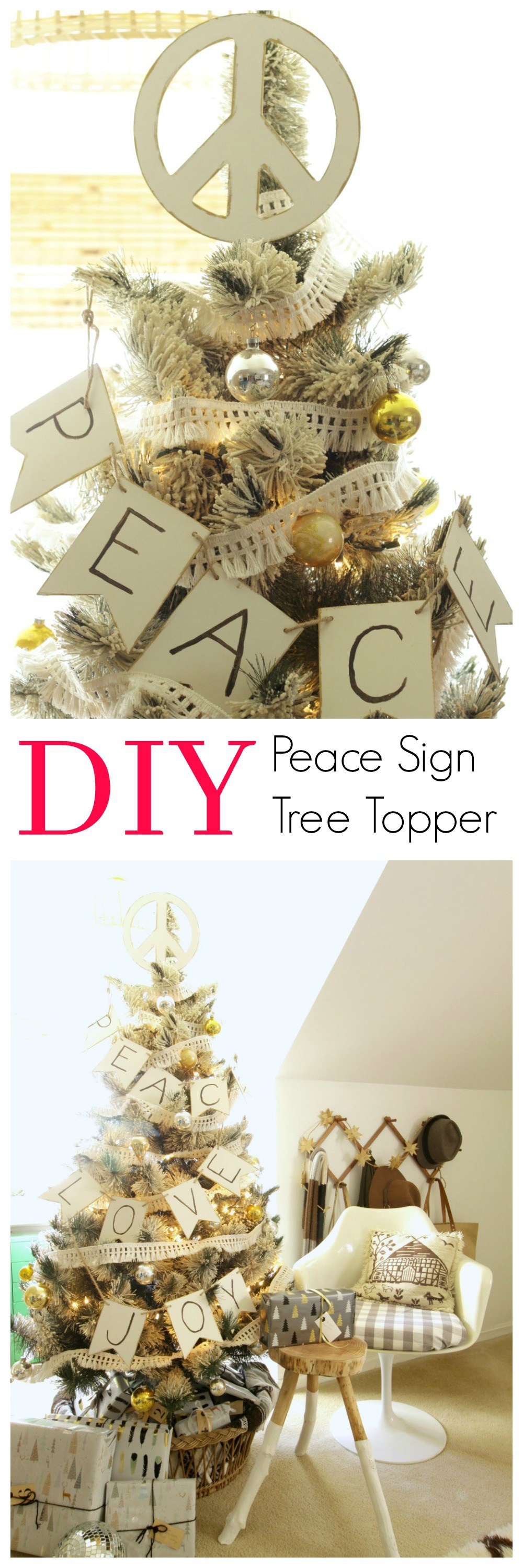 Peace Christmas Tree Topper.Diy Peace Sign Tree Topper Holiday Home Decor Modern