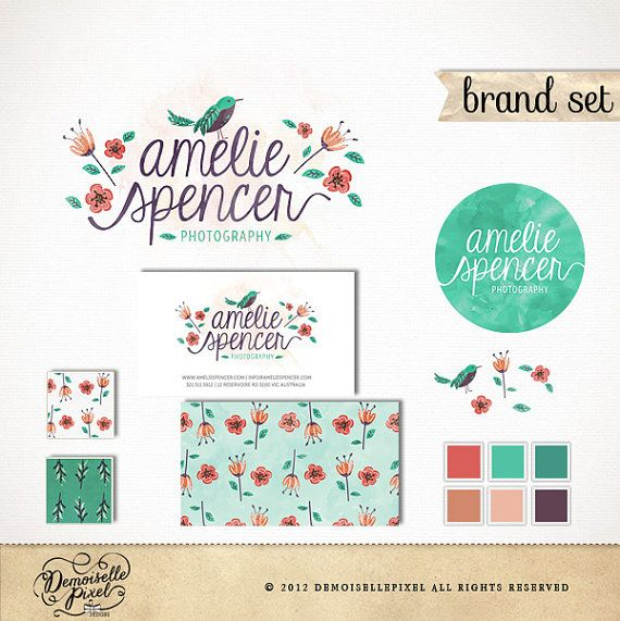 Photography brand identity package  at $99.90: https://www.etsy.com/shop/Demoisellepixel?section_id=13738261