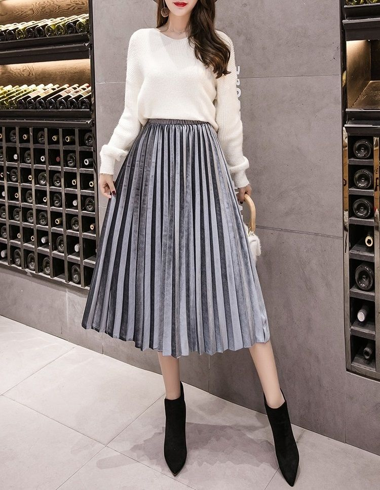 00201496a2 ... skirt  ) Light grey pleated metallic velvet women midi skirt autumn  winter office work casual everyday ladies pleated skirt fall spring high  waist cute ...