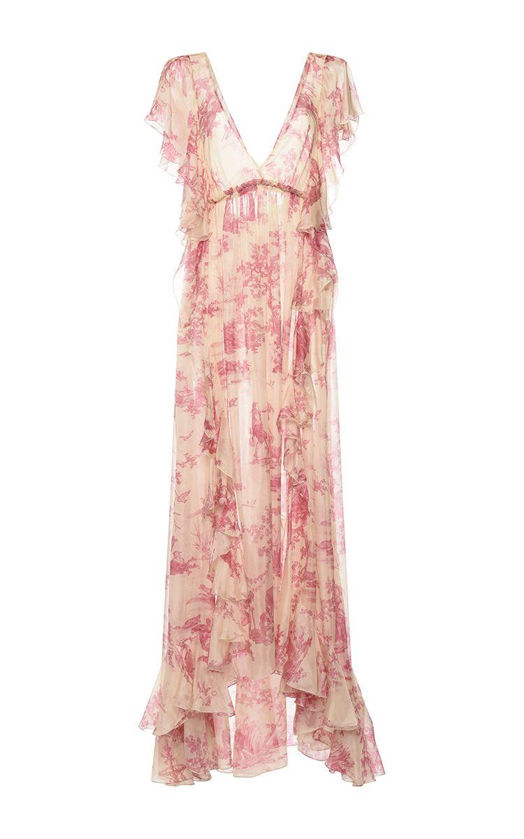 Printed Chiffon Short Sleeve Ruffled Dress by PHILOSOPHY DI LORENZO SERAFINI for Preorder on Moda Operandi