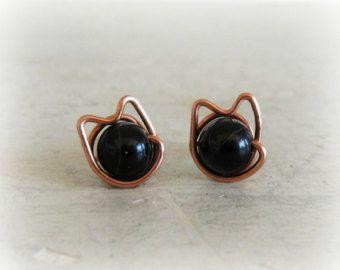 Black Cat Stud Earrings, Copper Wire Wrapped Posts, Halloween Earrings, Black Onyx Studs, Kitty Cat