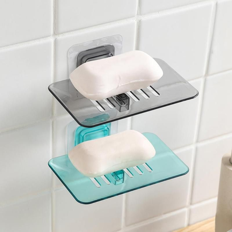 Strong Suction Cup Soap Dish Wall Tray Soap Storage Box Holder For Bathroom Plastic Tray Accessories Boxes Shelf Soap Rack 1 Soap Soap Holder Soap Tray