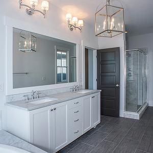 astonishing white bathroom vanity grey tile | Modern Organic Interiors - bathrooms - blue and gray ...