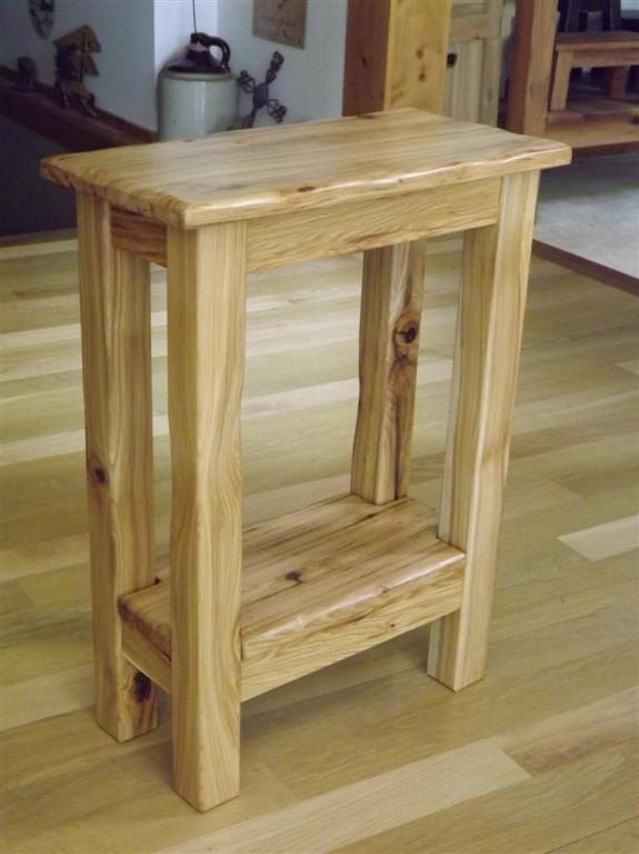 Reclaimed Wood Small Side Table Rustic Solid Hickory Nightstand Via Etsy