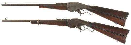 "Evans New Model carbines  Designed by Warren R. Evans in 1868, perfected in 1877 and largely manufactured by Merwin & Hulbert henceforth. These examples are, on top, the ""Evans Sporting Rifle"" marked type which allegedly was made from spares after the company failed to acquire any military contract, and the carbine model with a single forend band."