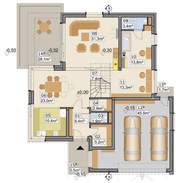 Plano de casa moderna con garaje doble y 240 metros for Diseno de casa de 300 metros cuadrados