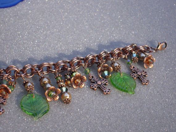 Copper Cross Flowers Leaf Charm Bracelet by AllMyLoveofCrafts, $10.00