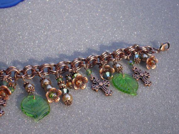 Copper Cross Flowers Leaf Charm Bracelet by AllMyLoveofCrafts, $10.00