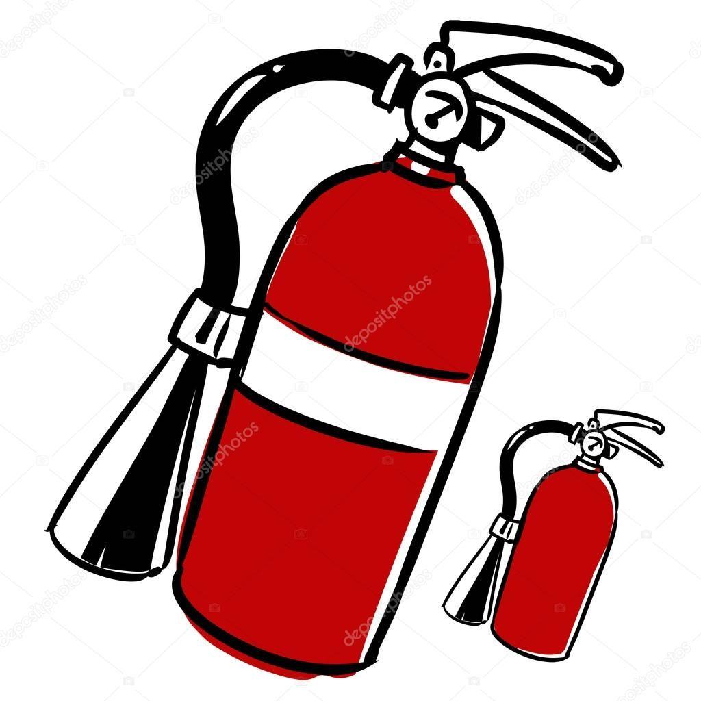 Extintor de incendios. vector ilustración de dibujos animados, mano dibujada, sketch estilo, aislado sobre fondo blanco