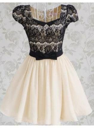 Vintage Romantic Lace Short Sleeve dress