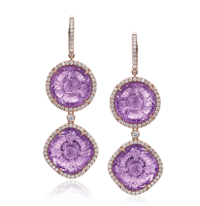 Rina Limor Signature 18K Rose Gold Amethyst & Pink Sapphire Round Drop Earrings VYCIM