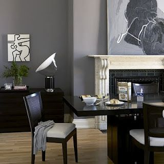Grey Dining Room With Dark Wood Table And Chairs