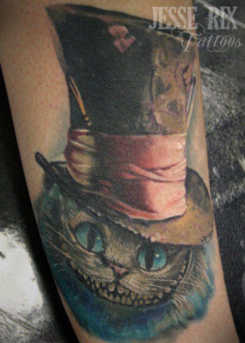 Cheshire Cat In The Hat Cheshire Cat Tattoo Wonderland Tattoo Cat Tattoo