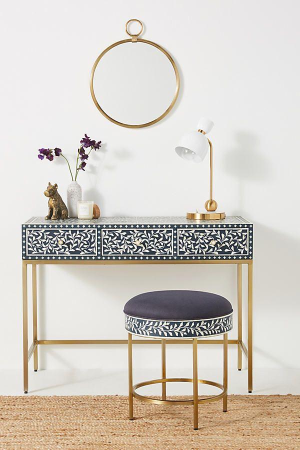 Scroll Vine Inlay Vanity Table