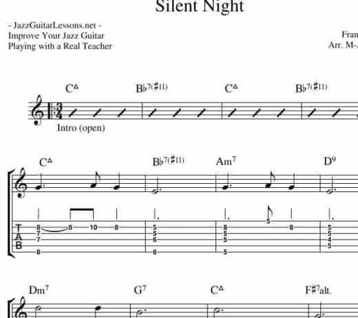 Silent Night Jazz Guitar Chord Melody Arrangement With Tabs