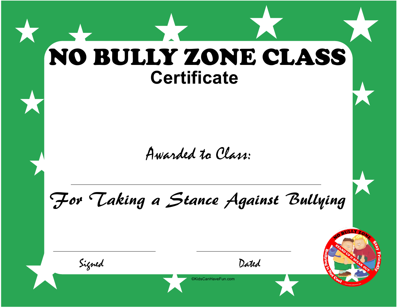 No Bully Zone Class Certificate