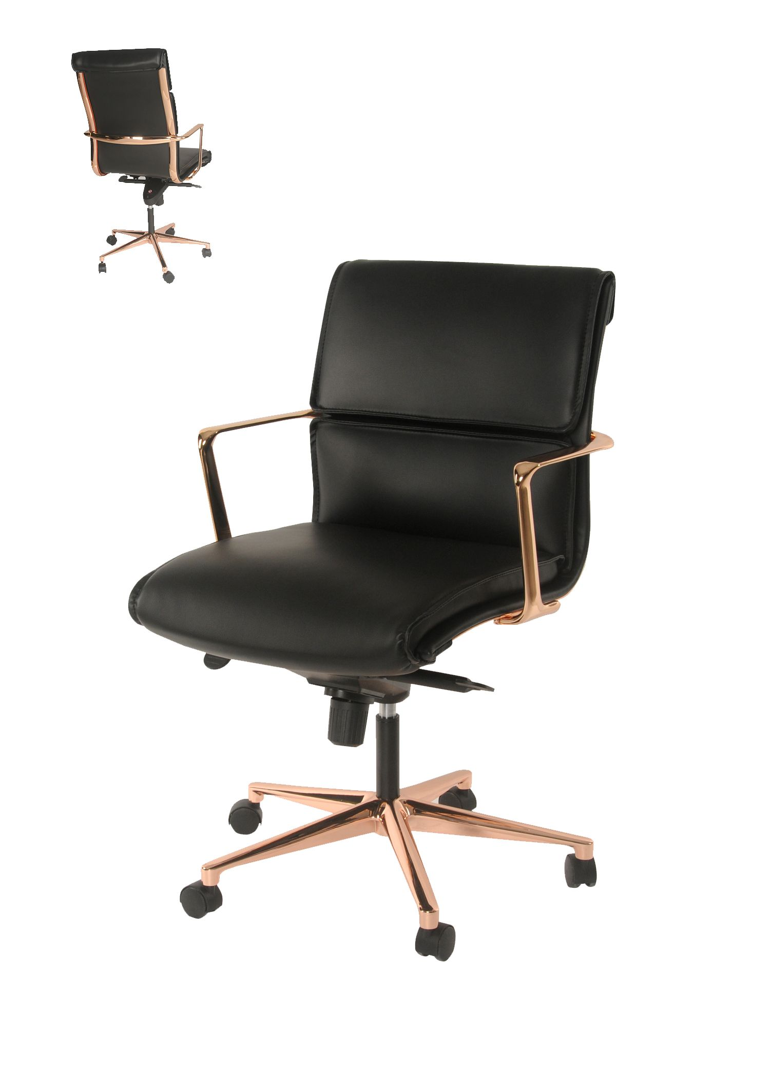 Office Chair Gold Bar Height Folding Chairs Wilson Pu Low Back Base Black Npd Lvmkt
