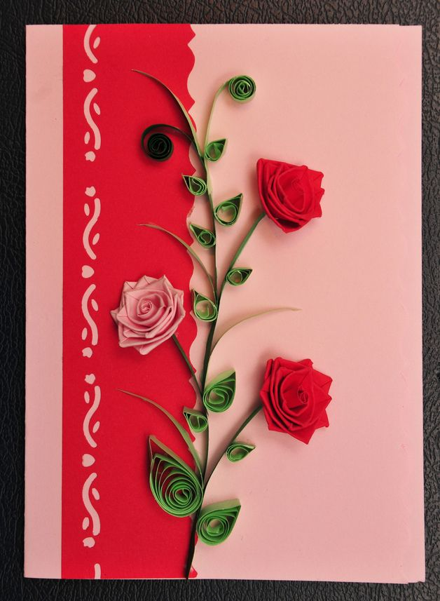 Quilling Card Making Ideas Part - 15: Valentineu0027s Day U2013 Handmade Valentineu0027s,birthday Quilling Card U2013 A Unique  Product By FlamysHandmade On