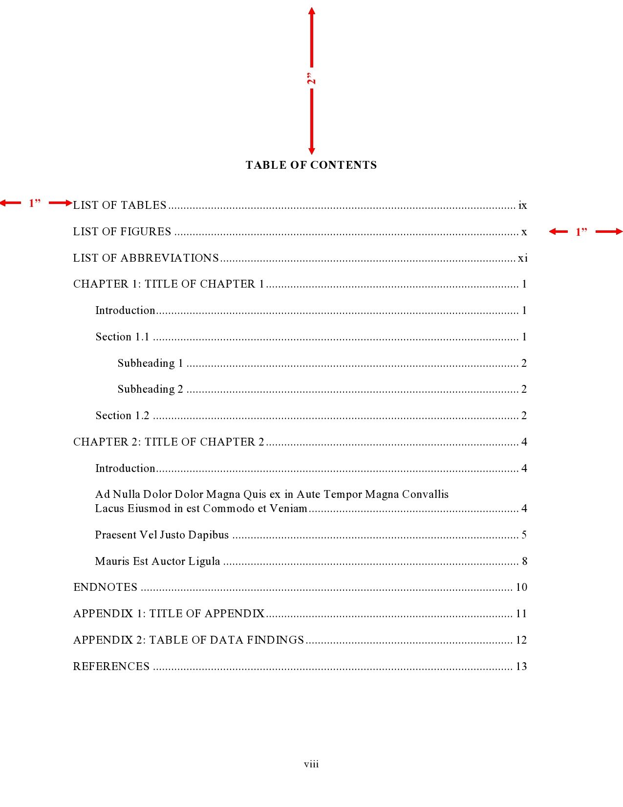 Table Of Contents Page Apa 59177 Table Of Contents Page Table