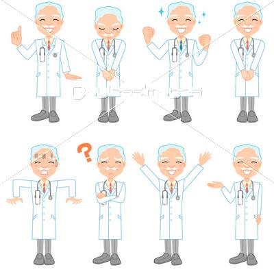 ベテラン医者のポーズ集の写真 イラスト素材 Xf3025108897 ペイレスイメージズ 医療イラスト ポーズ集 医者