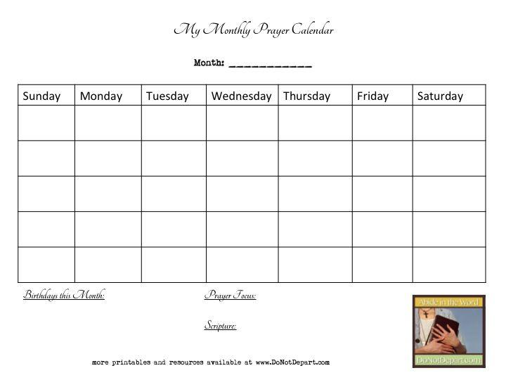 Monthly Prayer Calendar wwwdonotdepart Pray Pinterest Bible