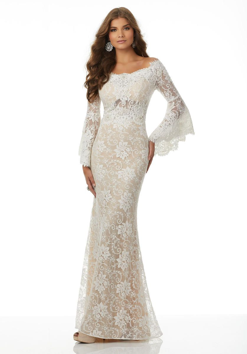 4ad23f1cafb Morilee 42082 Beaded Stretch Lace Bell Sleeve Gown in 2019