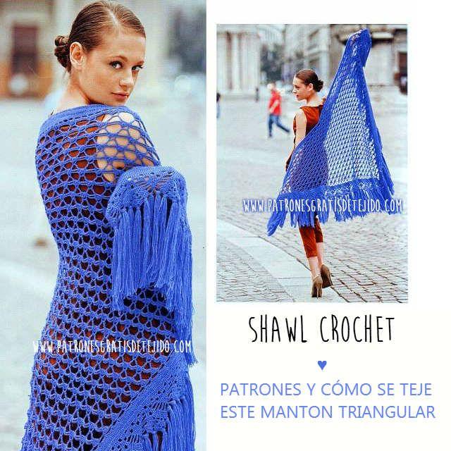 chal triangular crochet moldes y patrones | crochet boleros ...