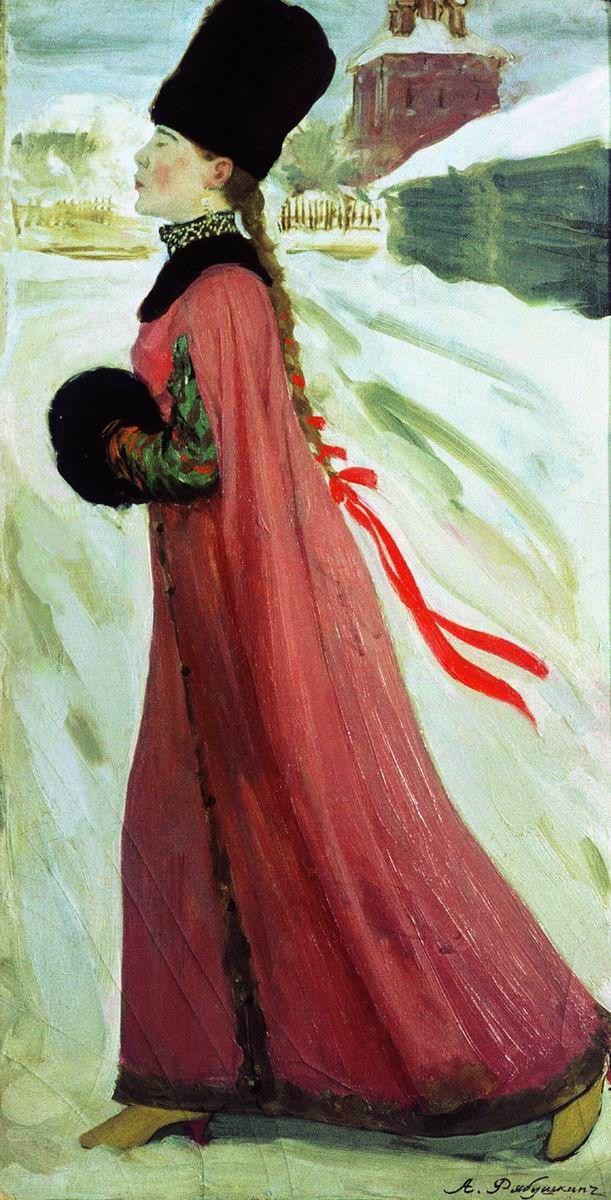 Андрей Рябушкин. Московская девушка XVII века, 1903 ~ Andrey Ryabushkin. XVII Century Moscow Girl, 1903