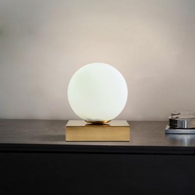 Milky Glass Ball Table Lamp Modern Fashion 1 Head Desk Lamp With Rectangle Metal Base Modern Table Lamp Lamp Glass Ball
