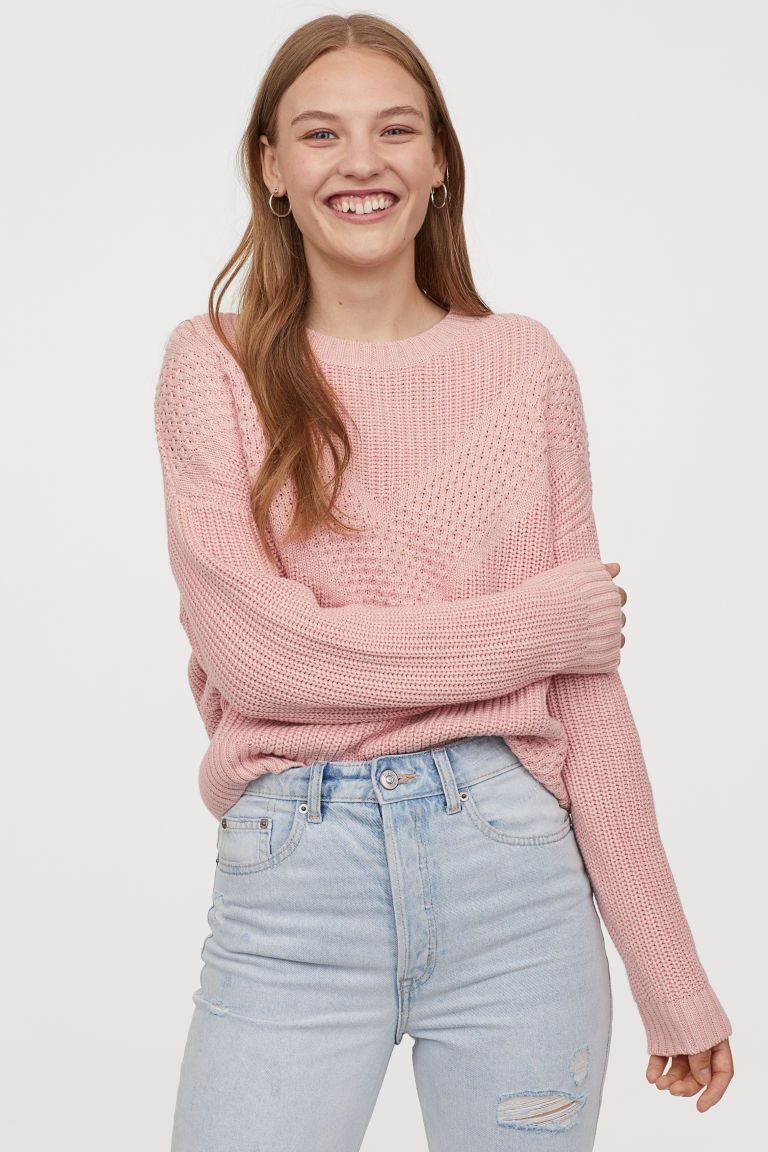 Pullover In Strukturstrick Altrosa H M De 1 Grunge Outfits Beachy Outfits Hm Outfits