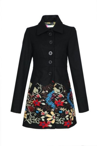 2c2517a900d83 NEW-Desigual-Black-Coat-Dress-robe -Manteau-Blazer-floral-embroidery-jacket-veste