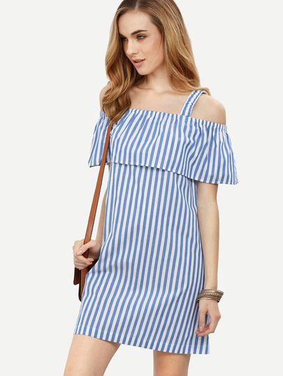 d1cb7bb1b2 Blue Striped Cold Shoulder Shift Dress -SheIn(Sheinside) | Striped ...