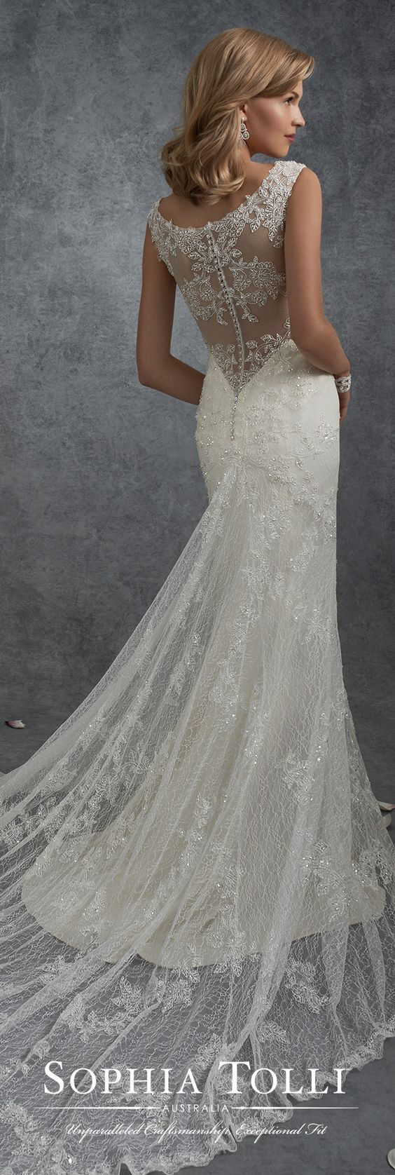 Lace vneck wedding dress with an illusion back sophia tolli y
