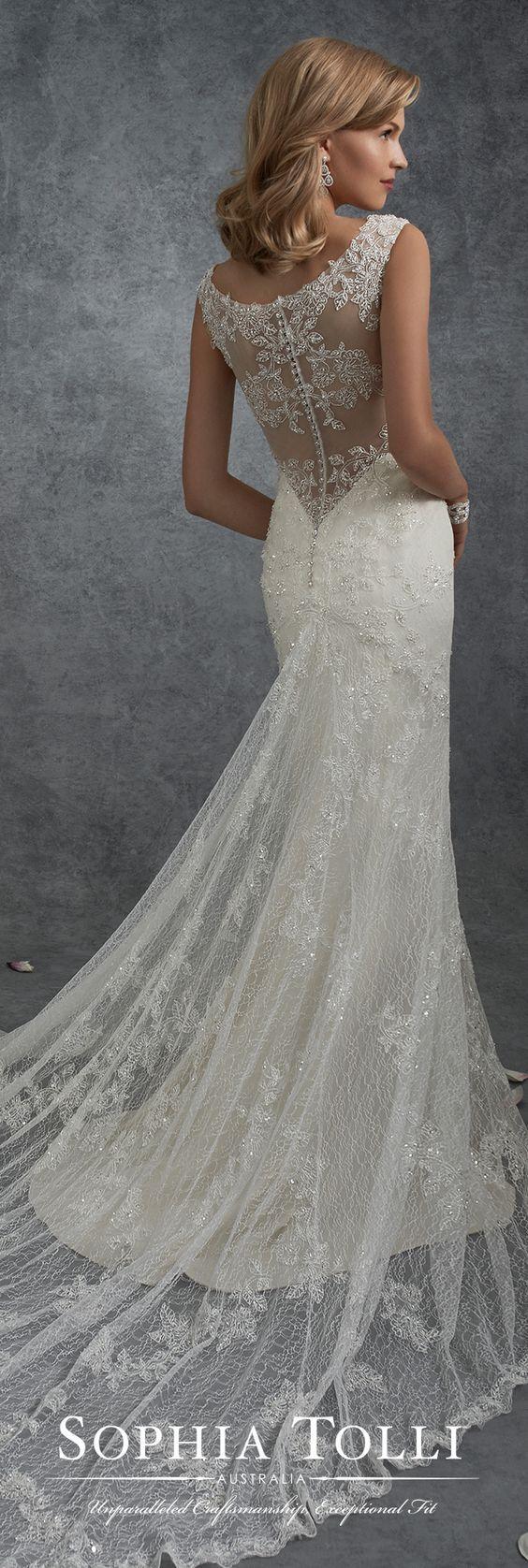 Lace v neck wedding dress  Lace VNeck Wedding Dress with an Illusion Back Sophia Tolli Y