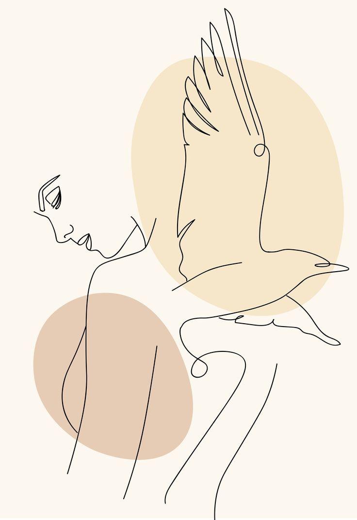 Minimalist line art woman poster