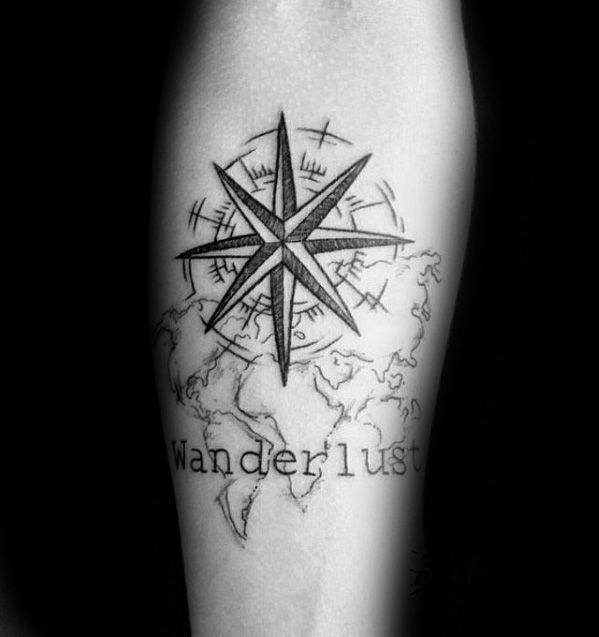Compass star with wanderlust map inner forearm tattoo for guys compass star with wanderlust map inner forearm tattoo for guys voltagebd Image collections