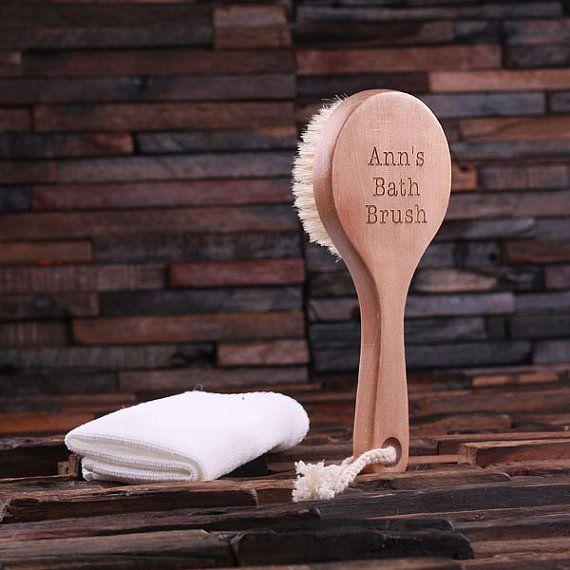 Personalized Engraved Long Shape Holiday Gift Customized Monogrammed Bath Scrub Spa Brush