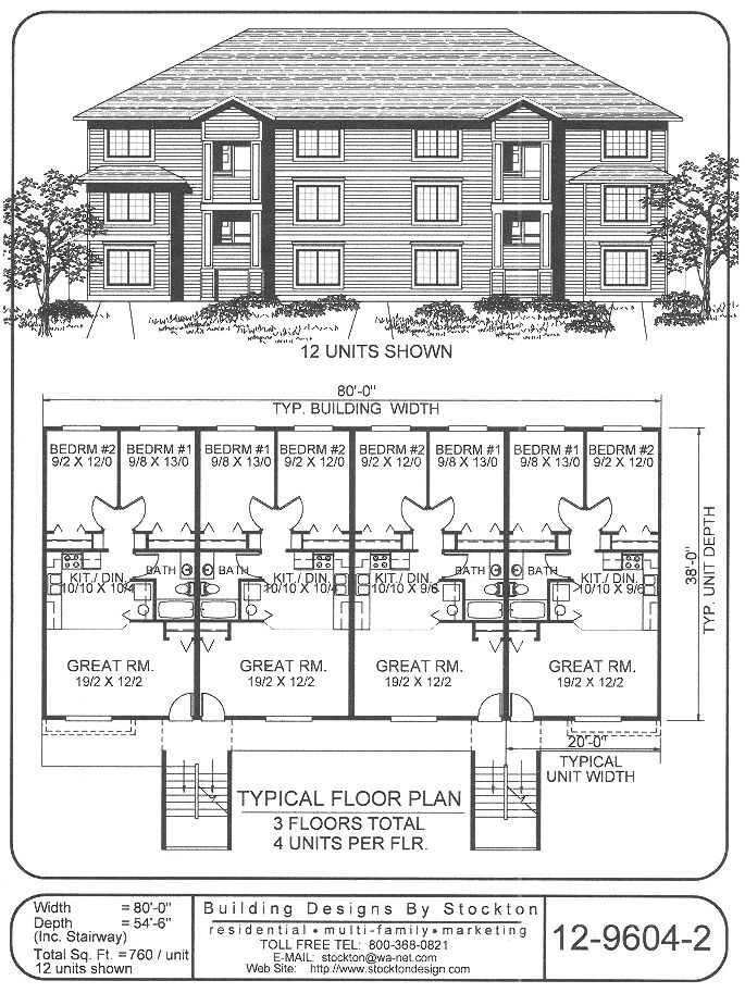 Building Designs By Stockton Plan 12 9604 2 Family House Plans Small Apartment Complex Plans Multi Family Homes