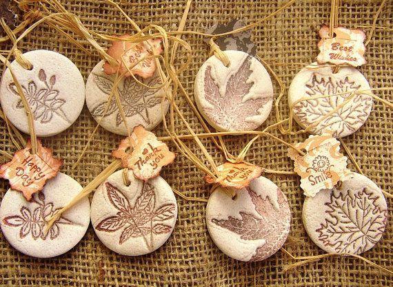 Salt Dough Gift Tags  Set of 8 Tags  Leaf Gift Tag... - #Dough #gift #Leaf #Salt #saltdough #Set #Tag #tags #saltdoughornaments