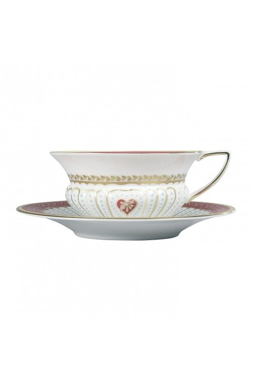 Queen of hearts teacup and saucer by Wedgwood. So romantic and elegant. Must have some tarts on the side for full effect.