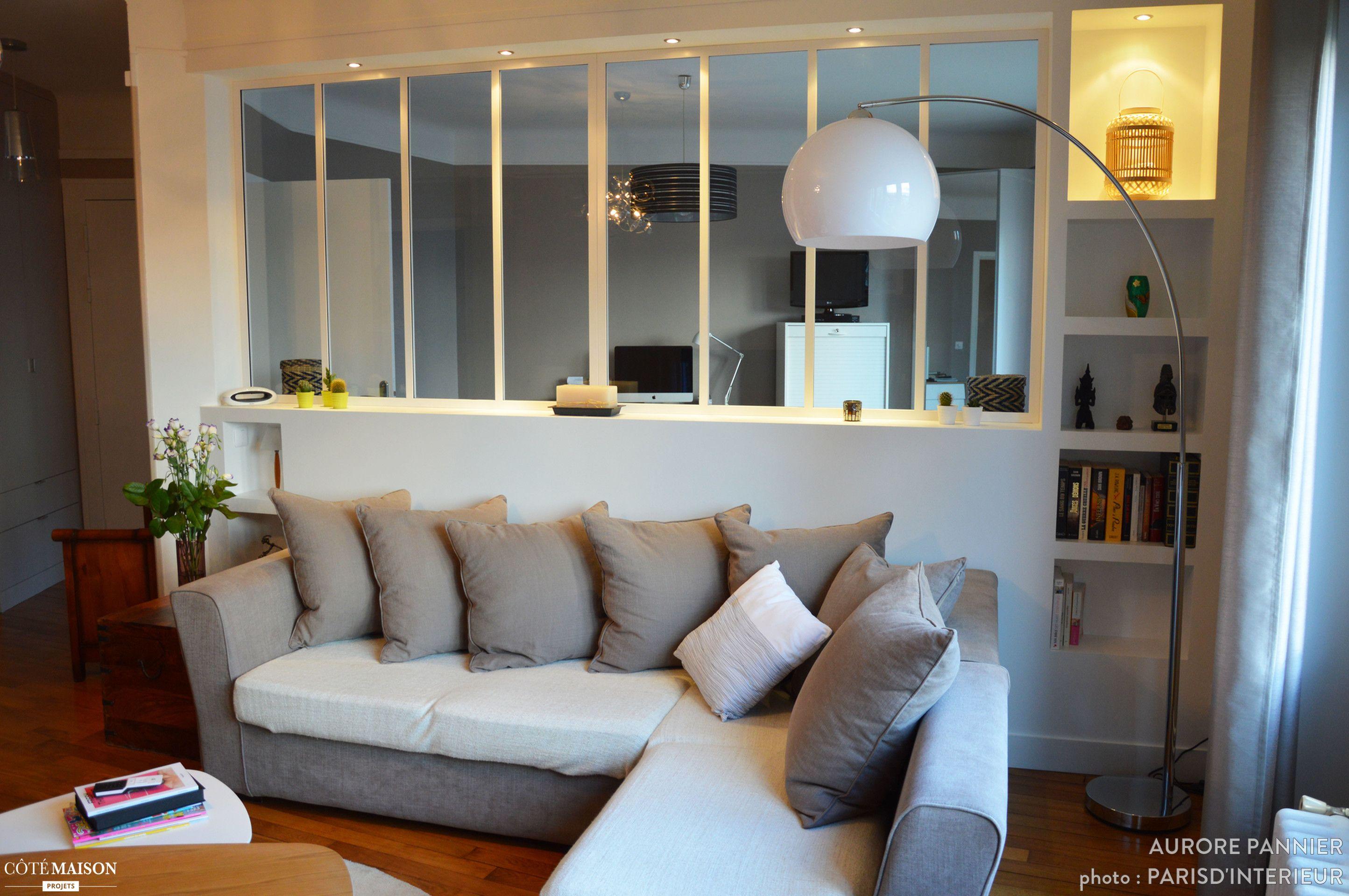 création d'une chambre dans une pièce à vivre, séparées par une