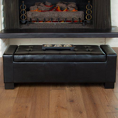 Rothwell Black Bonded Leather Storage Ottoman Great Deal ... https ...