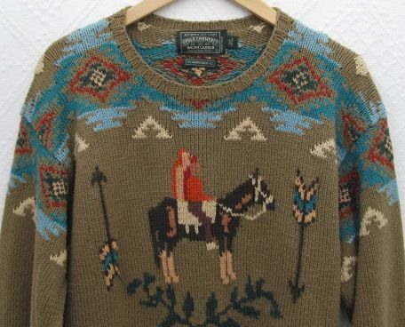 ca32af7fb Polo Country Ralph Lauren Hand Knit Native American Indian Sweater ...