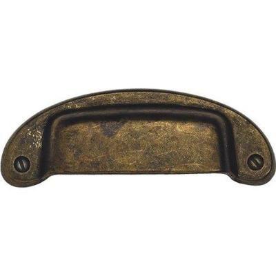 3.82 in. Antique Brass Distressed Bin Pull