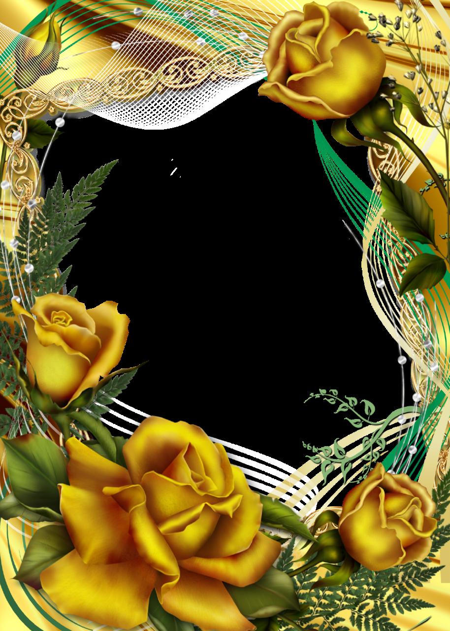 Photo-Frame-Golden-Roses.png (914×1280)