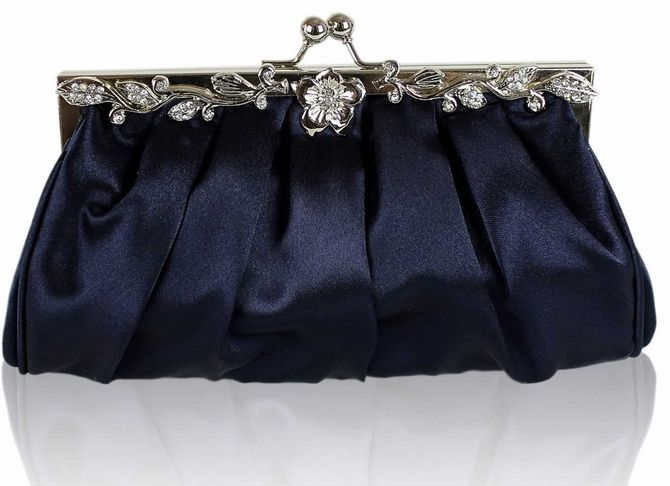 Navy Blue Satin Clutch Bag - Evening Bag (404) | prom dress ...