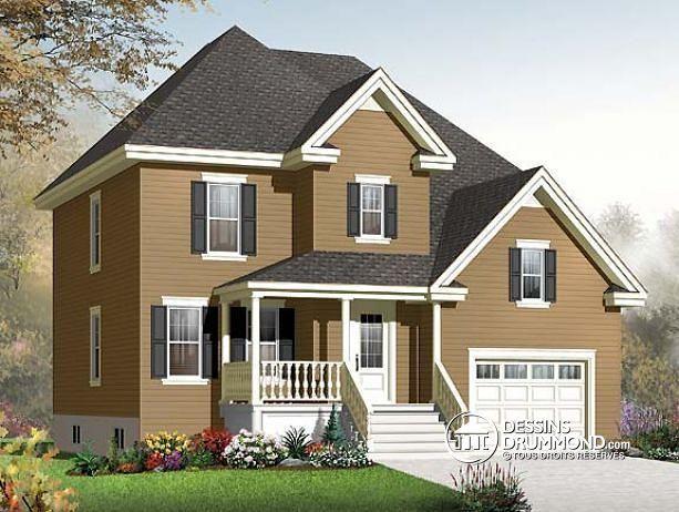 W3408-V1 - Modèle champêtre, 3 chambres, espace bonu pour chambre #4 - site pour plan de maison