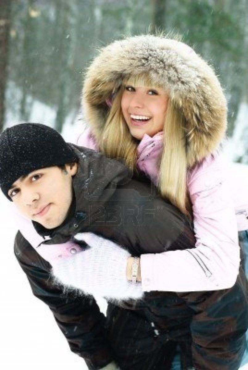 Image detail for -happy beautiful couple having fun in winter park, young man giving his ...